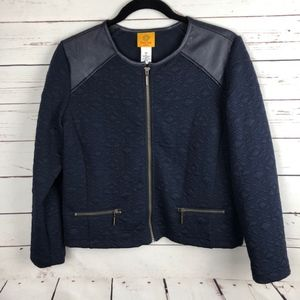 Ruby Road Quilted Moto Jacket  Navy 12P